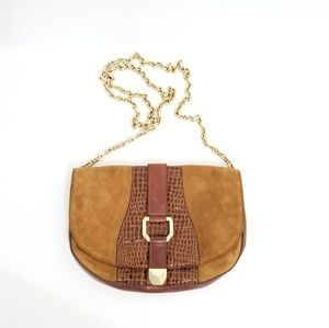 Henri Bendel Suede Brown Gold Chain Small Bag